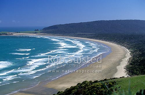Tautuku Beach and Peninsula from Florence Hill lookout, Catlins, Clutha District, Otago Region, New Zealand (NZ) stock photo.