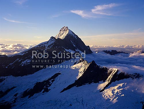Mt Aspiring (3033m) from the East, with Popes Nose (2691m) centre & Coxcomb Ridge low right, Mount Aspiring National Park, Queenstown Lakes District, Otago Region, New Zealand (NZ) stock photo.