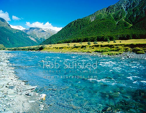 Matukituki River Valley, Mount (Mt) Aspiring National Park, Mount Aspiring National Park, Queenstown Lakes District, Otago Region, New Zealand (NZ) stock photo.