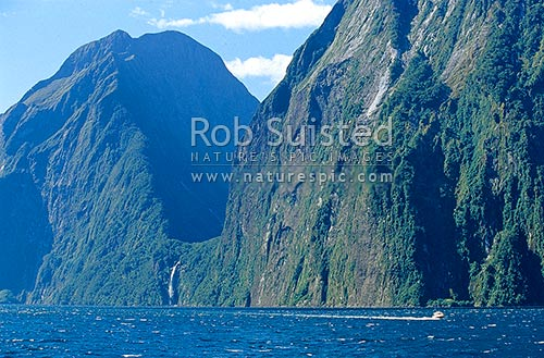 Stirling Falls(146m) entering Milford Sound between The Elephant (1500m) and The Lion (1302m)Peaks, Fiordland National Park, Southland District, Southland Region, New Zealand (NZ) stock photo.