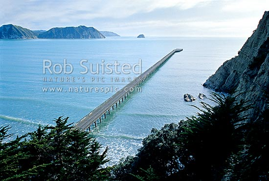 Tolaga Bay wharf, East Coast, Gisborne District, Gisborne Region, New Zealand (NZ) stock photo.
