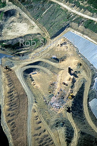 Aerial view of refuse dump, Blenheim. Rubbish transfer station, Marlborough, Marlborough District, Marlborough Region, New Zealand (NZ) stock photo.