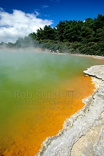 The famous hot spring 'Champagne Pool', Waiotapu Geothermal Area, Rotorua, Rotorua District, Bay of Plenty Region, New Zealand (NZ) stock photo.