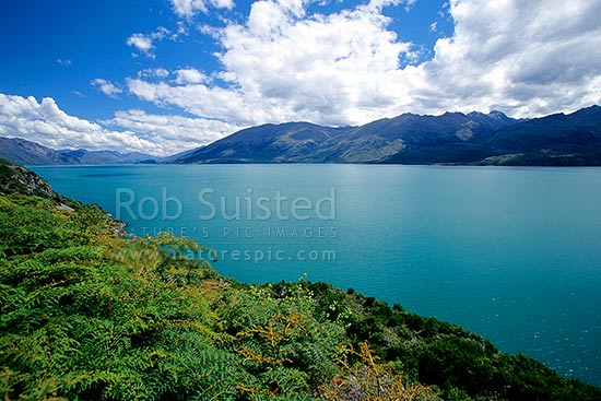 Looking down Lake Wanaka towards Wanaka, Wanaka, Queenstown Lakes District, Otago Region, New Zealand (NZ) stock photo.