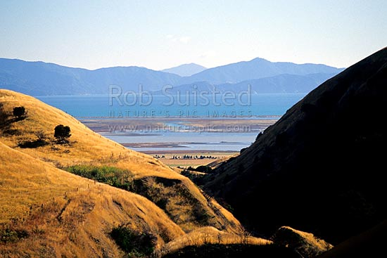 Looking across Big Lagoon and Cloudy Bay to Port Underwood, Marlborough Sounds, Blenheim, Marlborough District, Marlborough Region, New Zealand (NZ) stock photo.