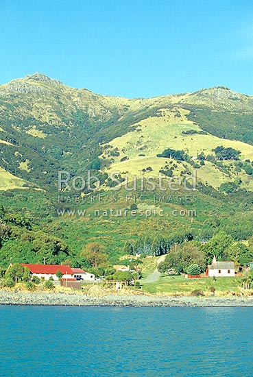 Onuku Marae at The Kaik. Ngai Tahu, Akaroa, Banks Peninsula District, Canterbury Region, New Zealand (NZ) stock photo.