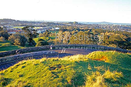 Looking north to Auckland City and Rangitoto Island from summit of One Tree Hill (Maungakiekie), Auckland, Auckland City District, Auckland Region, New Zealand (NZ) stock photo.