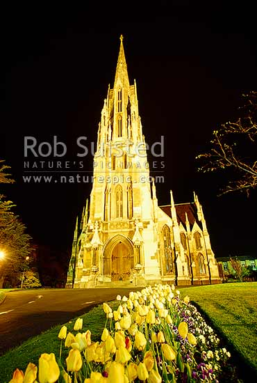 The 'First Church of Otago' (1873) at night - Presbyterian. Dunedin City Centre, Dunedin, Dunedin City District, Otago Region, New Zealand (NZ) stock photo.