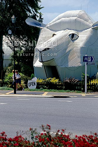 Tourist shop at Tirau depicting a giant Sheep, Tirau, South Waikato District, Waikato Region, New Zealand (NZ) stock photo.