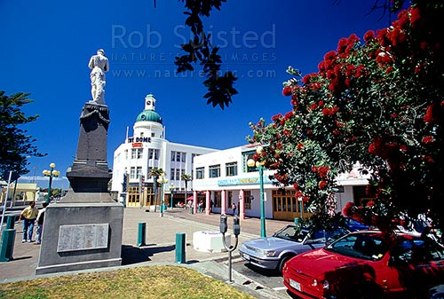 Art Deco buildings in Napier. Marine Parade, Napier City, Napier City District, Hawke's Bay Region, New Zealand (NZ) stock photo.
