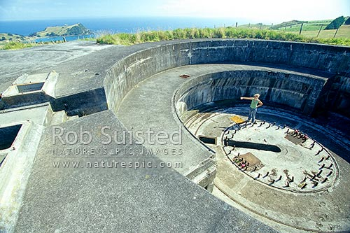 Historic WWII 9.2 inch coastal defense gun emplacements at Stoney Batter above Te Patu Point, Waiheke Island, Auckland City District, Auckland Region, New Zealand (NZ) stock photo.
