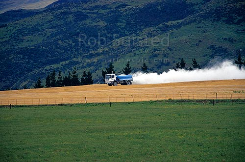 Truck topdressing superphospate fertiliser onto paddock and farmland, Central Otago, New Zealand (NZ) stock photo.