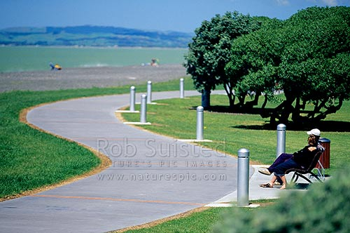 A couple of people sitting and enjoying the view on the Napier foreshore, Marine Parade, Napier, Napier City District, Hawke's Bay Region, New Zealand (NZ) stock photo.