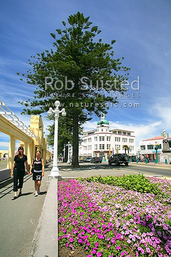 Napier Marine Parade, Napier, Napier City District, Hawke's Bay Region, New Zealand (NZ) stock photo.
