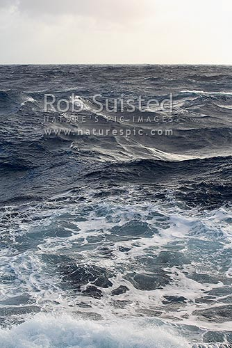 Heavy seas, waves and swell in the southern ocean, Southern Ocean, NZ Sub Antarctic District, NZ Sub Antarctic Region, New Zealand (NZ) stock photo.