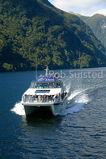 The Real Journeys vessel 'Patea Explorer' in Doubtful Sound, Fiordland, Southland District, Southland Region, New Zealand (NZ) stock photo.