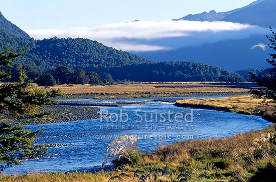 Early morning view up the Eglinton River, Fiordland National Park, Southland District, Southland Region, New Zealand (NZ) stock photo.