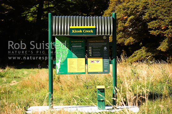 Department of Conservation campsite at Kiosk Creek, Eglinton Valley, Fiordland National Park, Southland District, Southland Region, New Zealand (NZ) stock photo.