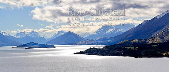 Looking up Lake Wakatipu to Glenorchy and the Rees and Dart Rivers. Pig and Pigeon Islands. Panorama. 13000x2900, Queenstown, Queenstown Lakes District, Otago Region, New Zealand (NZ) stock photo.