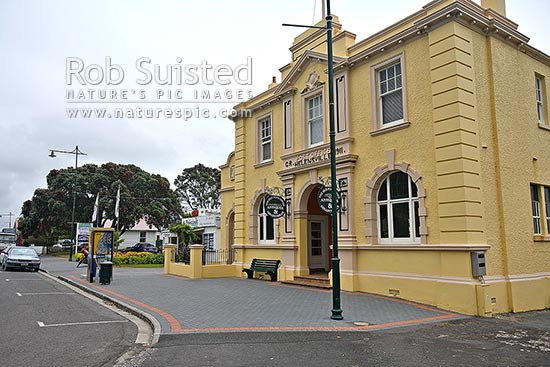 Historic Post Office Building in Helensville - built 1911, Helensville, Rodney District, Auckland Region, New Zealand (NZ) stock photo.