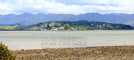 Panorama across the Hokianga Harbour from Motukaraka to the Rawene Peninsula and township, Kohukohu, Hokianga, Far North District, Northland Region, New Zealand (NZ) stock photo.
