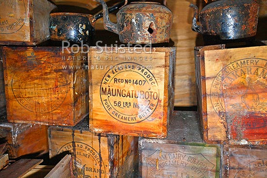 New Zealand Dairy Produce butter cases in Captain Robert Falcon Scott's 1910-12 Terra Nova Expedition Hut, Cape Evans. Maungeturoto brand, Cape Evans, Ross Island, McMurdo Sound, Antarctica Region, Antarctica stock photo.