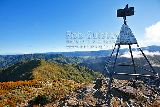 Looking west over the Kaitoke Valley from the Remutaka (Rimutaka) Summit Trig walk (725m) above the Remutaka (Rimutaka) Road summit, Remutaka, Upper Hutt City District, Wellington Region, New Zealand (NZ) stock photo.