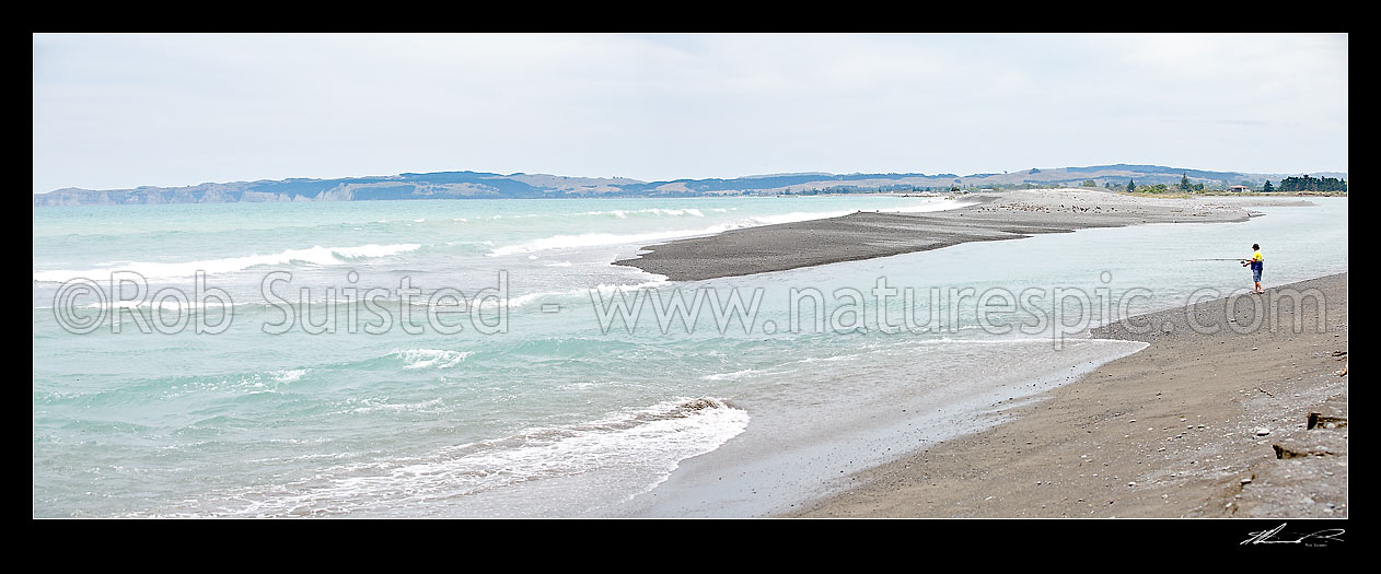 Image of Recreational fisherman fishing at the Tukituki, Ngaruroro and Clive River mouths sandbar on the Napier foreshore, Clive, Hastings District, Hawke's Bay Region, New Zealand (NZ) stock photo image