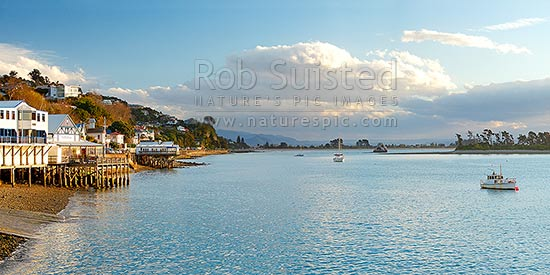 Nelson waterfront with yachts moored infront of Tahunanui Beach, with Haulashore Island at right. Panorama, Nelson, Nelson City District, Nelson Region, New Zealand (NZ) stock photo.