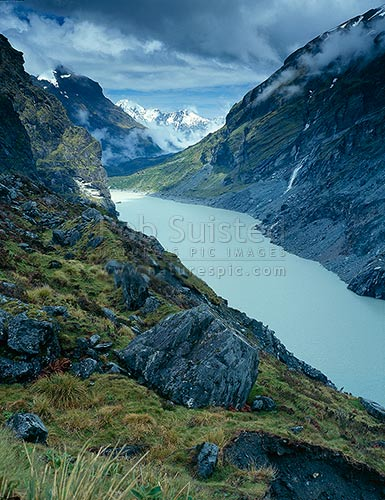 Lake Douglas. Douglas River, Douglas River, Westland District, West Coast Region, New Zealand (NZ) stock photo.