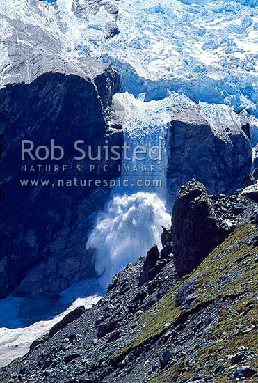 Huge icefall cascading off the Douglas Neve into the Douglas Glacier below (series of 4), Douglas River, Westland District, West Coast Region, New Zealand (NZ) stock photo.