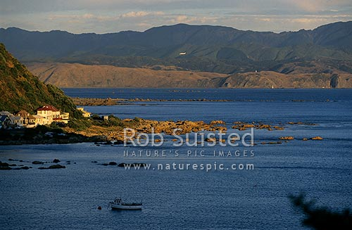 Island Bay at Sunset, with plane landing at Wellington, Wellington, Wellington City District, Wellington Region, New Zealand (NZ) stock photo.